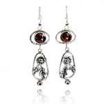Garnet Blossom Drop Earrings
