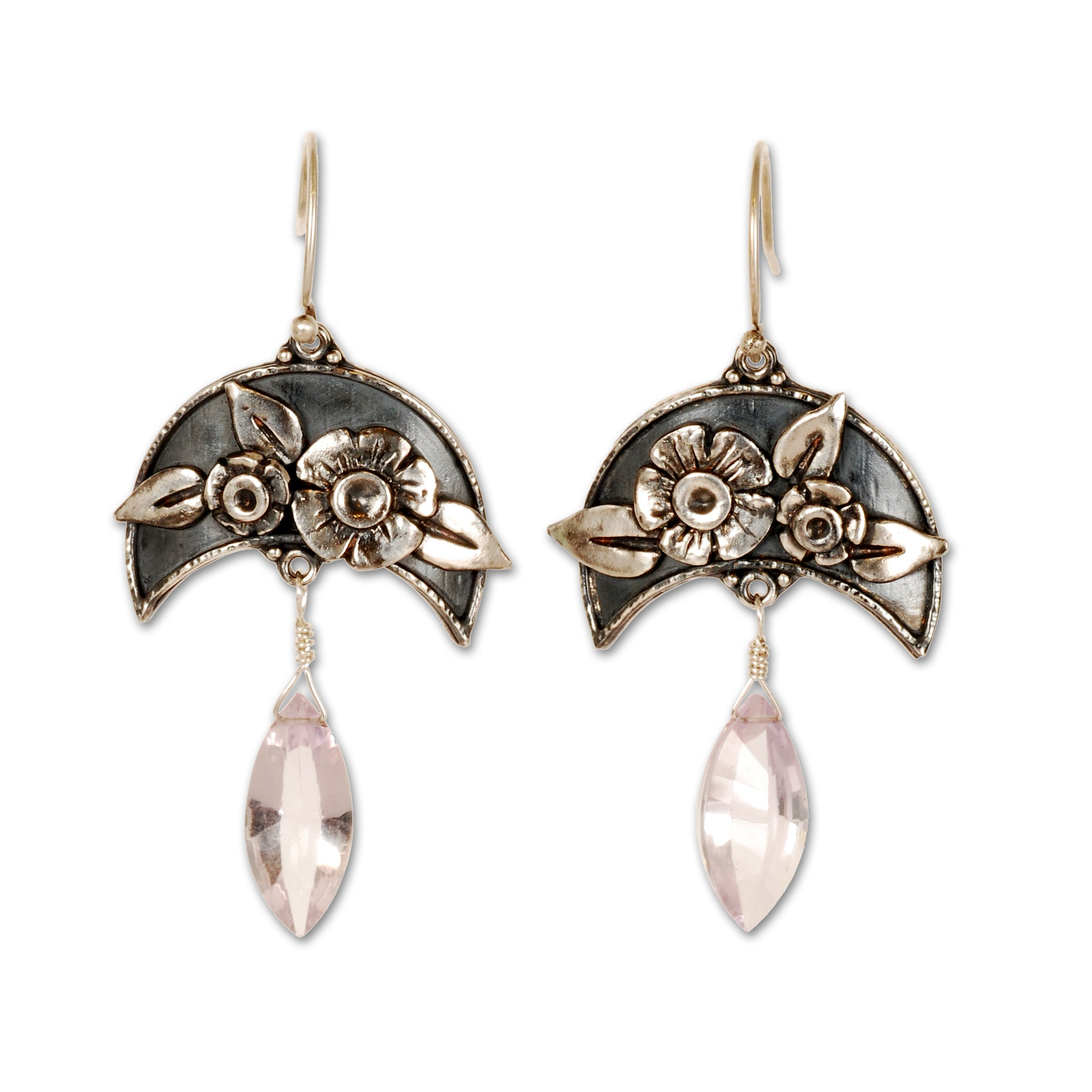 Pink Ametyst Moonflower Earrings