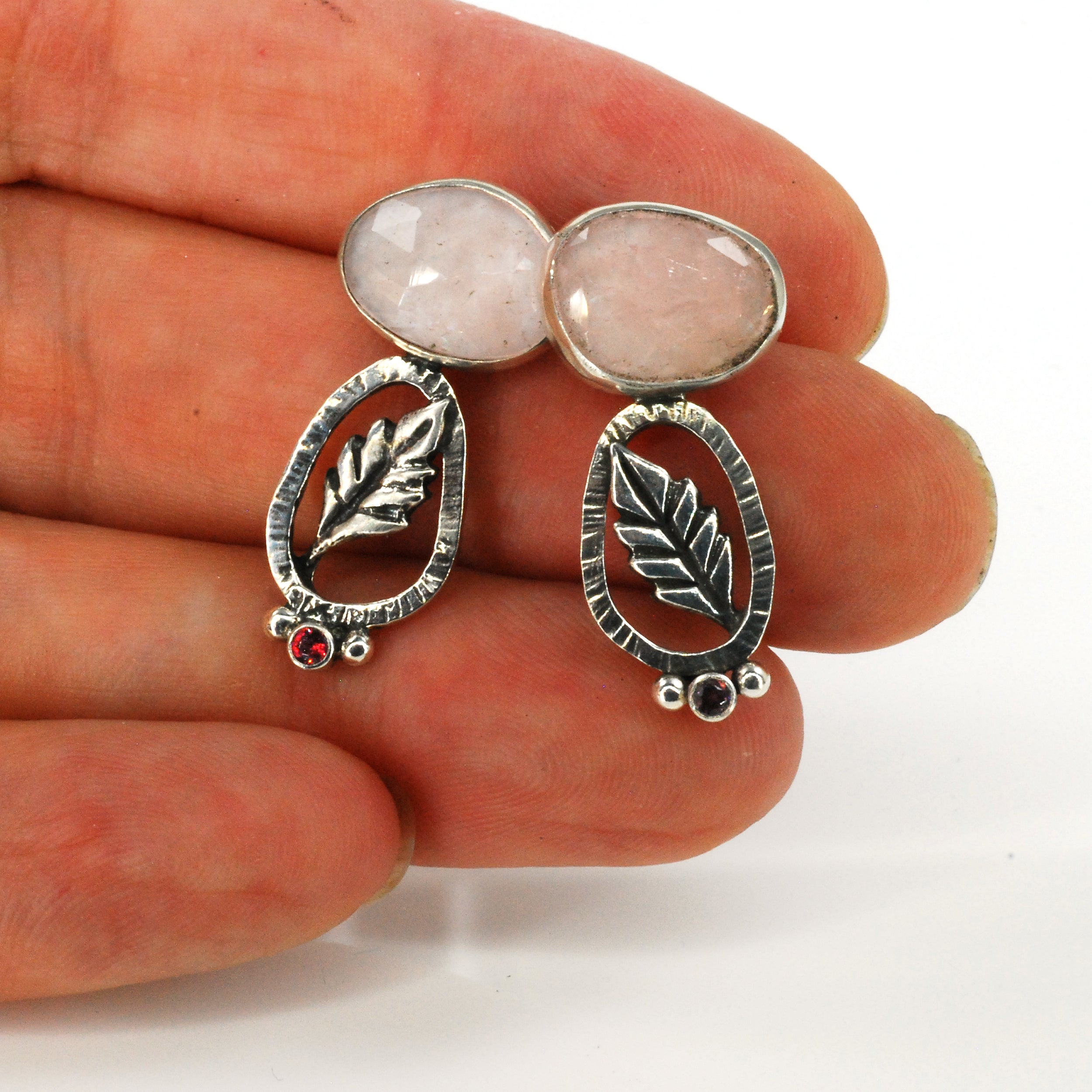 Pale Rose Leaf Earrings
