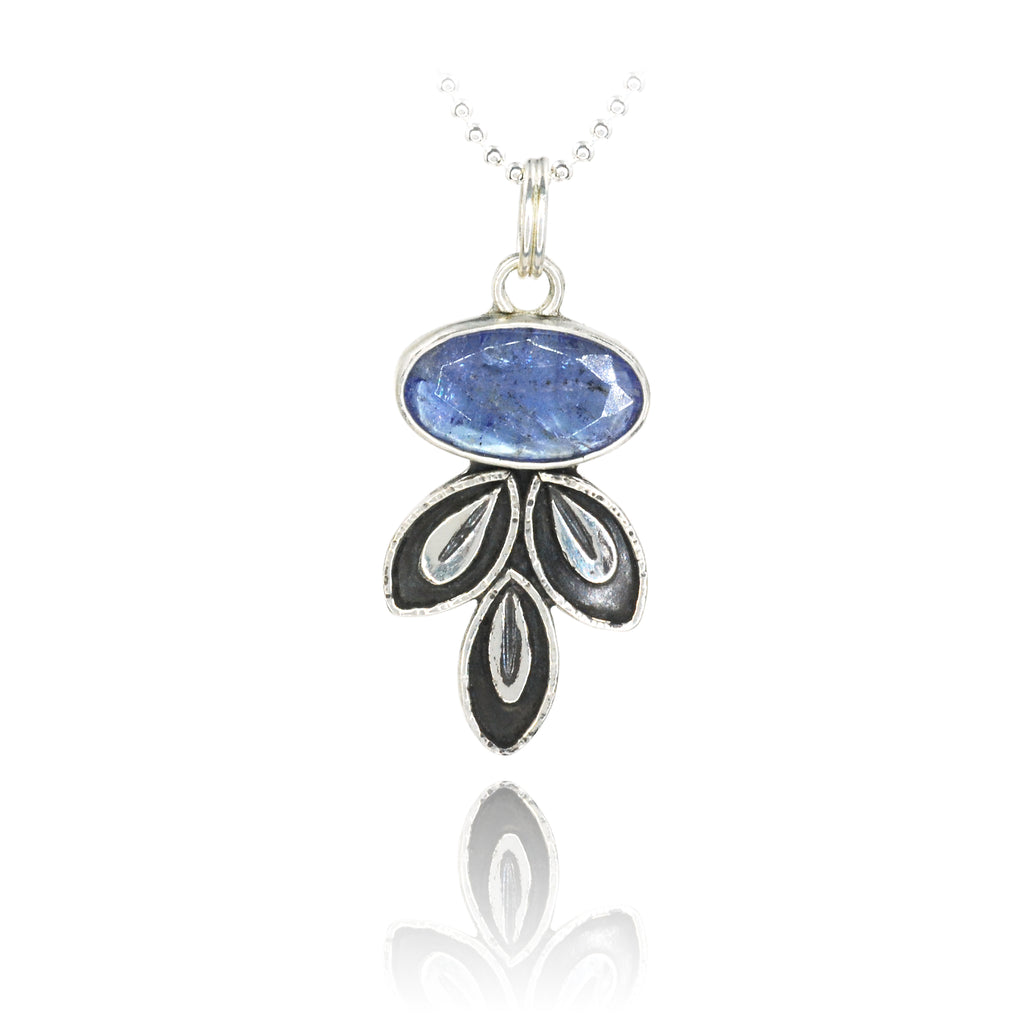 Tanzanite Leaf Drop Necklace