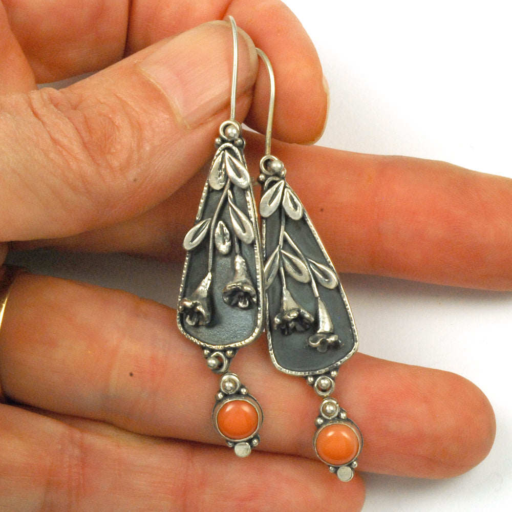 Coral Trumpet Vine Earrings