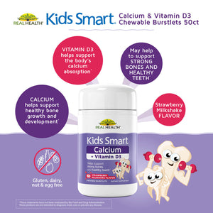 Kids Smart Calcium & Vitamin D3 Chewable Burstlets – 50ct infographic