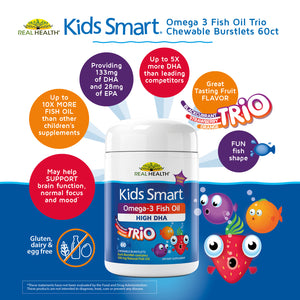 Kids Smart Trios Hi DHA Omega-3 Fish Oil – 60ct infographic