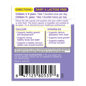 Kids Smart Calcium & Vitamin D3 Chewable Burstlets – 50ct directions