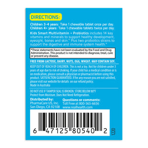 Kids Smart Multivitamin & Probiotics Chewable Tablets – 50ct directions