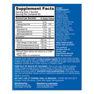Kids Smart Trios Hi DHA Omega-3 Fish Oil – 60ct Supplement Facts