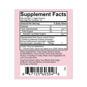 Promensil Menopause Support Gummies – 45ct Supplement Facts panel