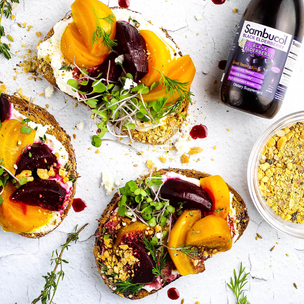 Roasted Beet Crostini with Almond Dukkah and Elderberry