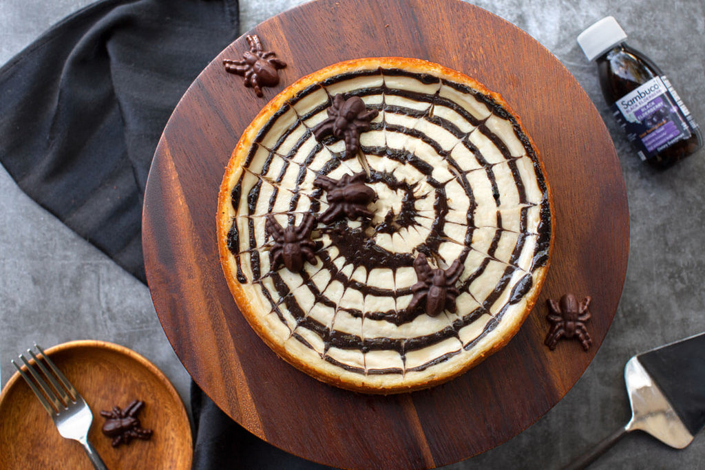halloween spiderweb elderberry cheesecake