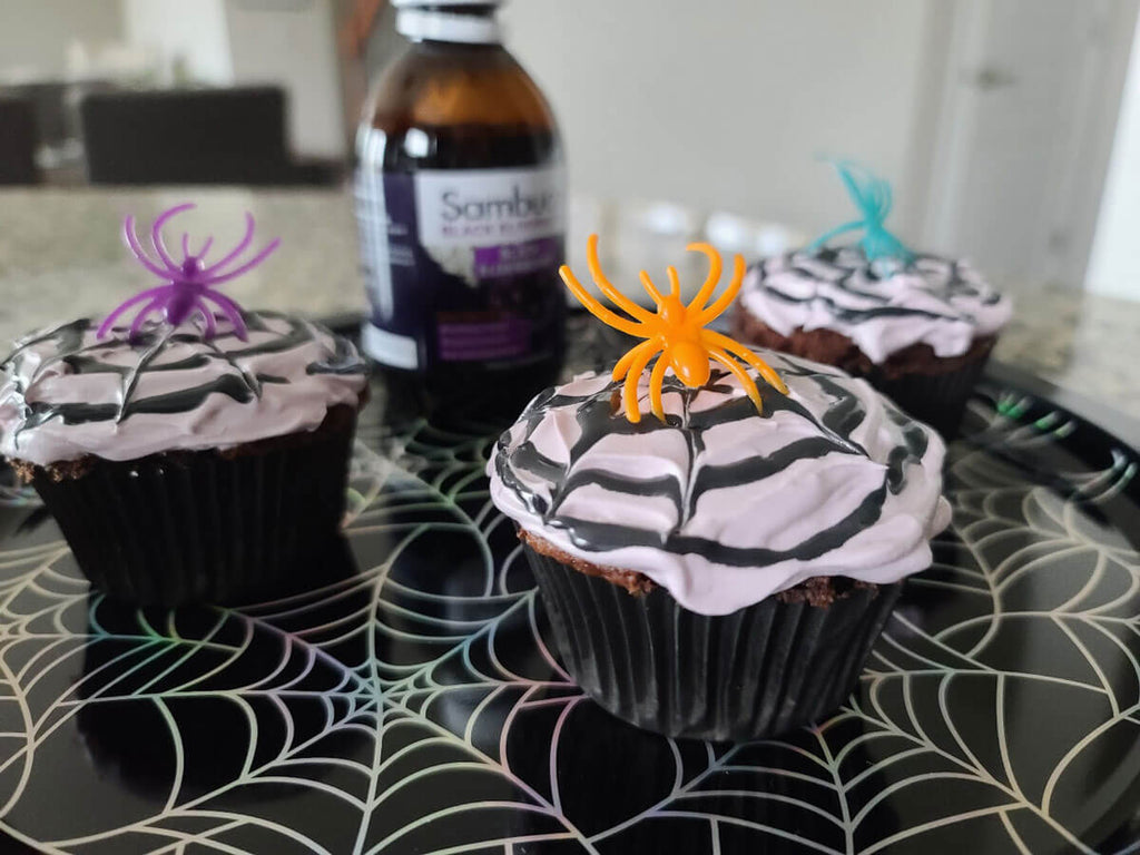 halloween spiderweb cupcakes with elderberry syrup