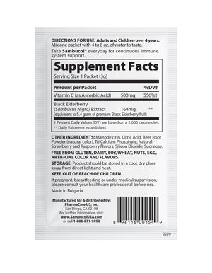 Sambucol Black Elderberry Daily Immune Drink Powder - 30 Count Supplement Facts