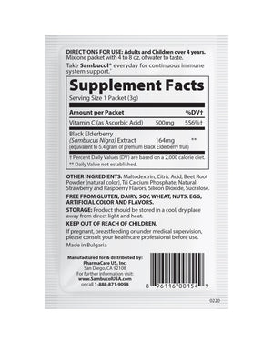 Sambucol Black Elderberry Daily Immune Drink Powder - 16 Count Supplement Facts