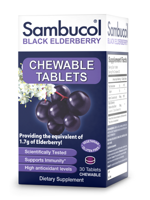 Sambucol Black Elderberry Chewable Tablets - 30 Count Front/Side 1r