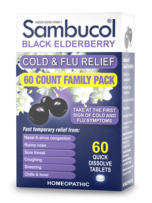 Sambucol Homeopathic Temporary Cold & Flu Symptom Relief - 60 Count Front/Side 1