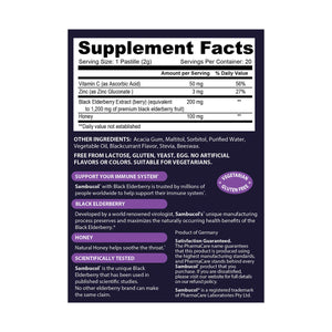 Sambucol Black Elderberry Pastilles (Throat Lozenges) Supplement Facts