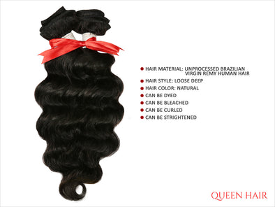 QUEEN HAIR UNPROCESSED BRAZILIAN VIRGIN REMY HAIR WEAVE [LOOSE DEEP]