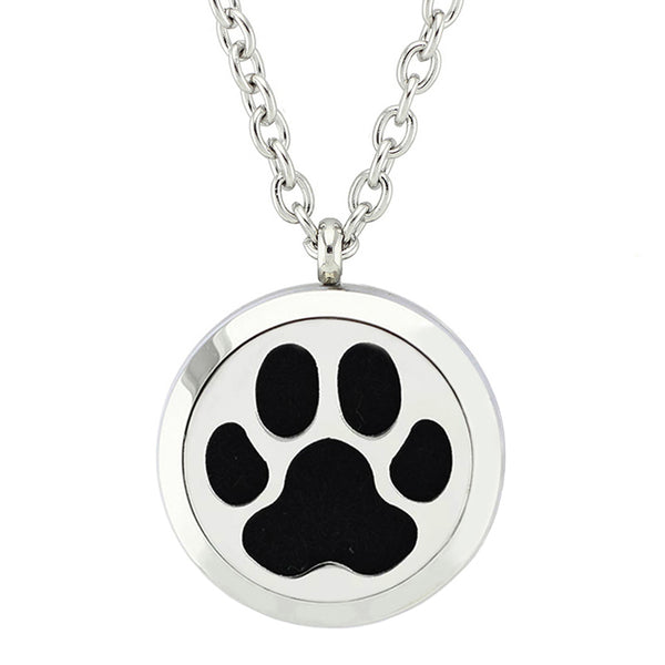 Stainless Steel Paw Print Diffuser Necklace - VIP Top Cats