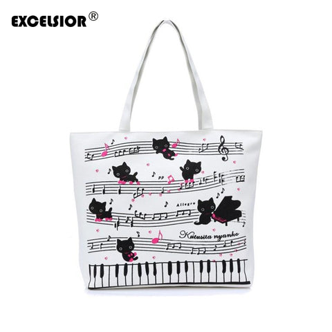 Ladies Musical Piano Cats Printing Single Shoulder Canvas Shopper Handbag - VIP Top Cats