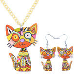 Acrylic Statement Cat Necklace Earrings Jewelry Sets - VIP Top Cats
