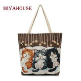 Miyahouse Cute Cats Print Canvas Shoulder Bag Women Large Capacity Embroidery Handbag - VIP Top Cats