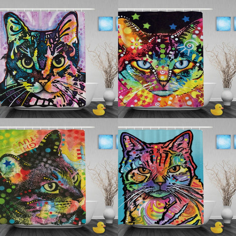 Cat Abstract Art Bathroom Shower Curtains - VIP Top Cats