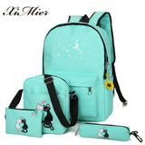 5Pcs/set Canvas Women Backpacks Schoolbag Printing Cute Cat School Bag - VIP Top Cats