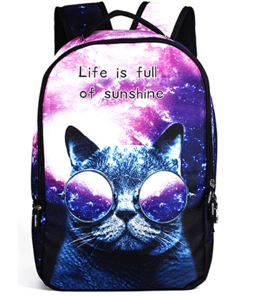Women 3D Printed Cartoon Cat School Backpack Bag For Girls - VIP Top Cats