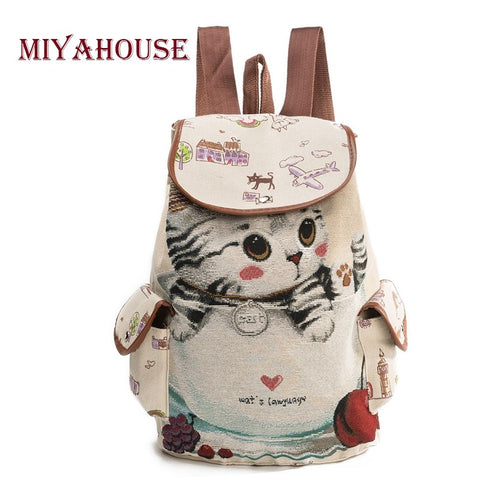 Casual Canvas School Large Capacity Drawstring Backpack Women Lovely Cat Printed Backpack - VIP Top Cats