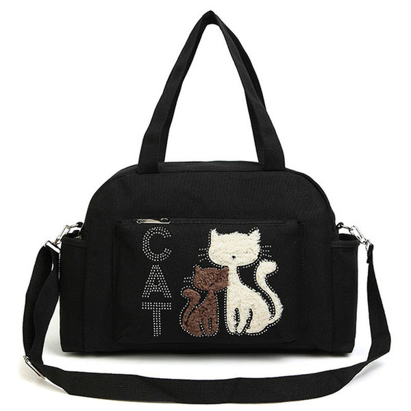 Women Shoulder Handbags Big Canvas Cloth Bag Cute Velvet Cat Fabric - VIP Top Cats