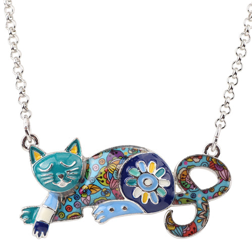 Enamel Sleeping Cat Necklace - VIP Top Cats