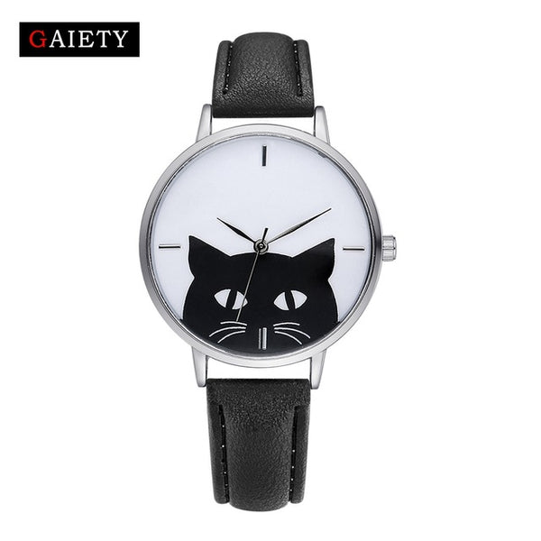 Stainless Steel Case Leather Band Casual Fashion Cat Quartz Watches - VIP Top Cats
