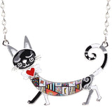 Multi-Colored Enamel Cat Choker Necklace - VIP Top Cats