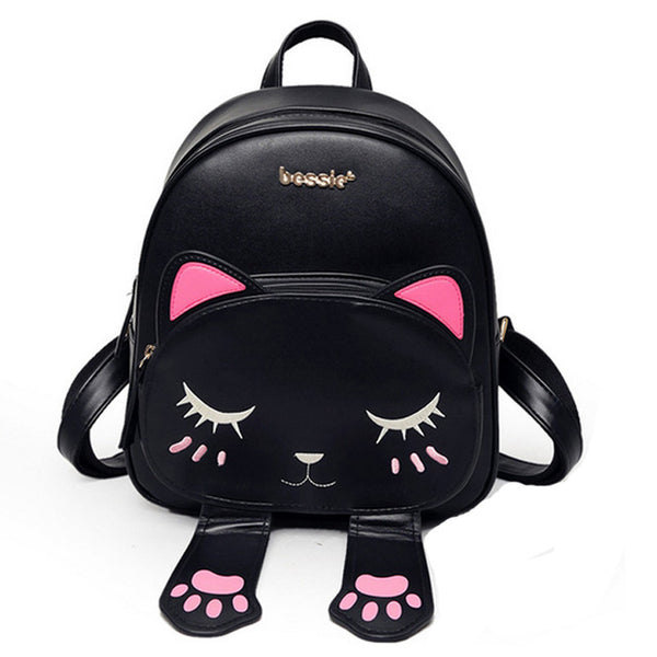 Cute Cat Pu Leather Backpacks for Teenage Girls Funny Cats Ears - VIP Top Cats