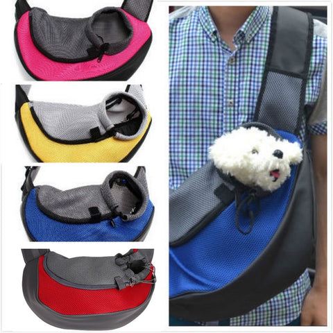 Small Animal Sling Front Pet Carrier - Mesh Comfort Travel Tote Shoulder Bag - VIP Top Cats