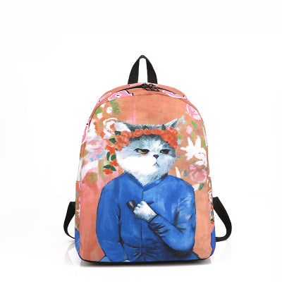 NEW Cute Van Gogh Picasso Teenager Cartoon kitty Cat printed Backpacks - VIP Top Cats