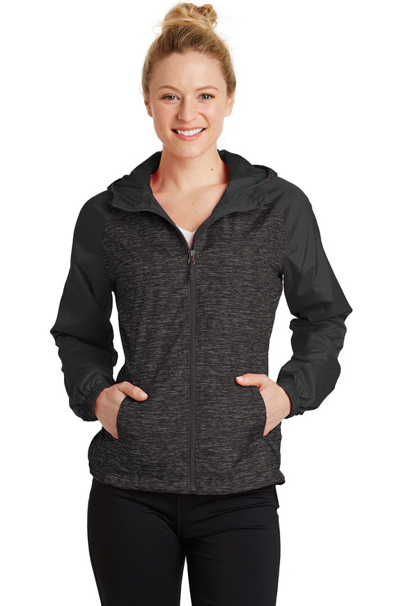 VA Sport-Tek® Ladies Heather Colorblock Raglan Hooded Wind Jacket
