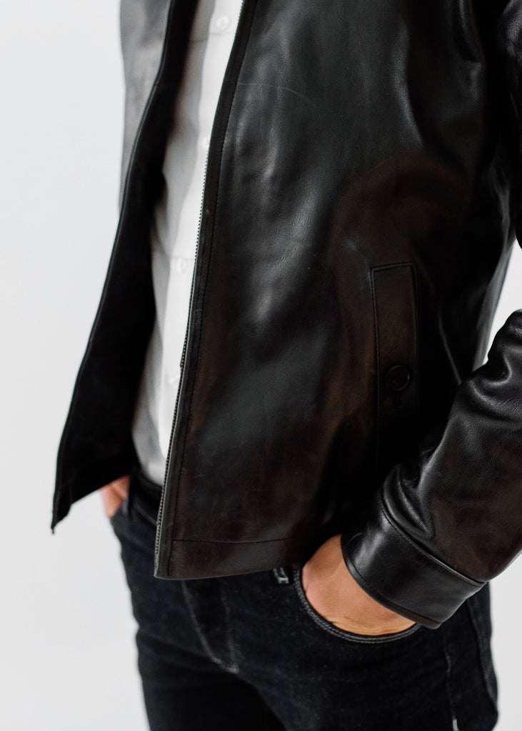 The Morris Leather Hunting Coat in Midnight Black, Made by Hencroft