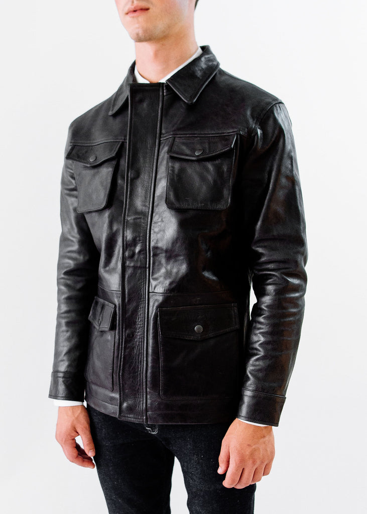 The Ruskin Leather Field Jacket in Midnight Black, Made by Hencroft