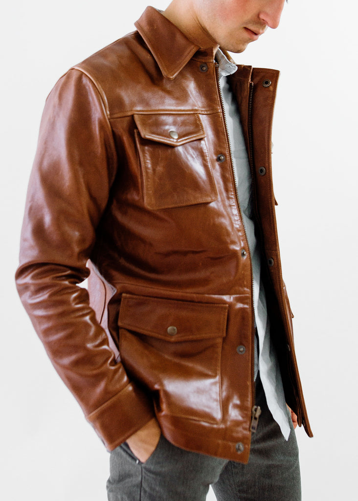 The Ruskin Leather Field Jacket in Tobacco Brown, Made by Hencroft