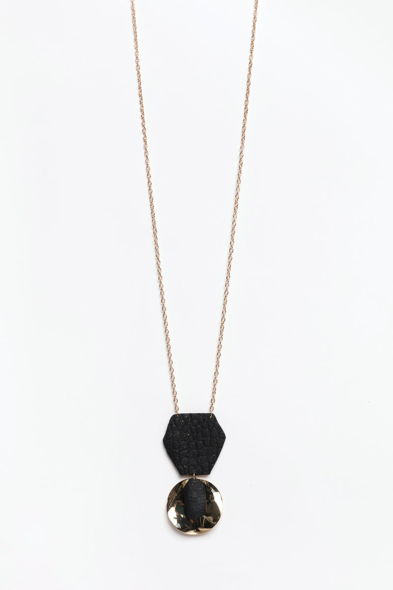Black & Gold Disc Necklace, Accessories - Repertoire NZ, New Zealand Fashion, Womenswear, Womens Clothing