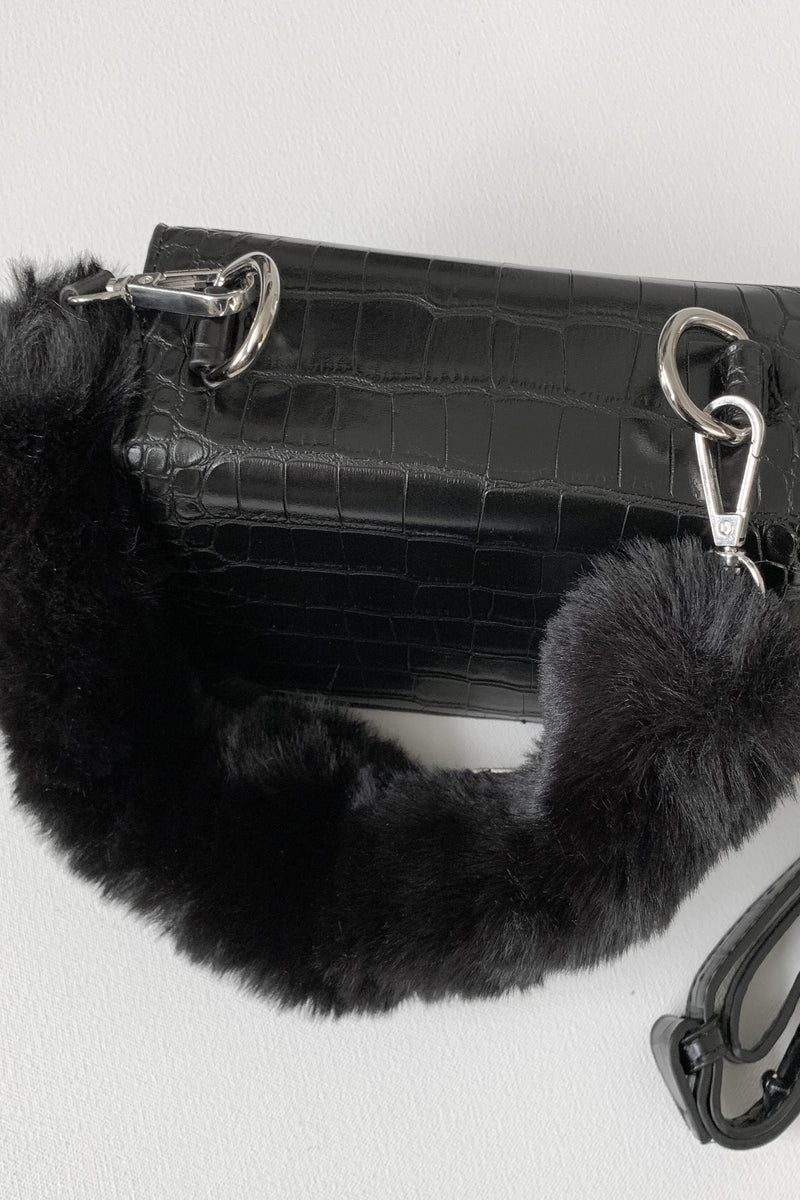 Faux Fur/Croc Fold Over Bag, Bags - Repertoire NZ, New Zealand Fashion, Womenswear, Womens Clothing