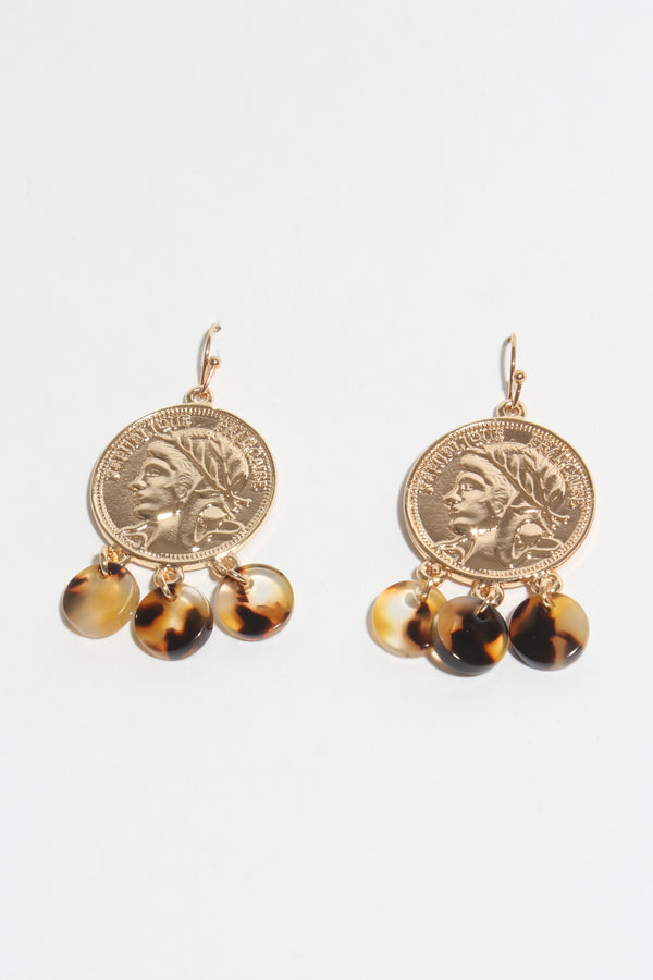 Coin & Tort Charm Earring, Jewellery - Repertoire NZ, New Zealand Fashion, Womenswear, Womens Clothing