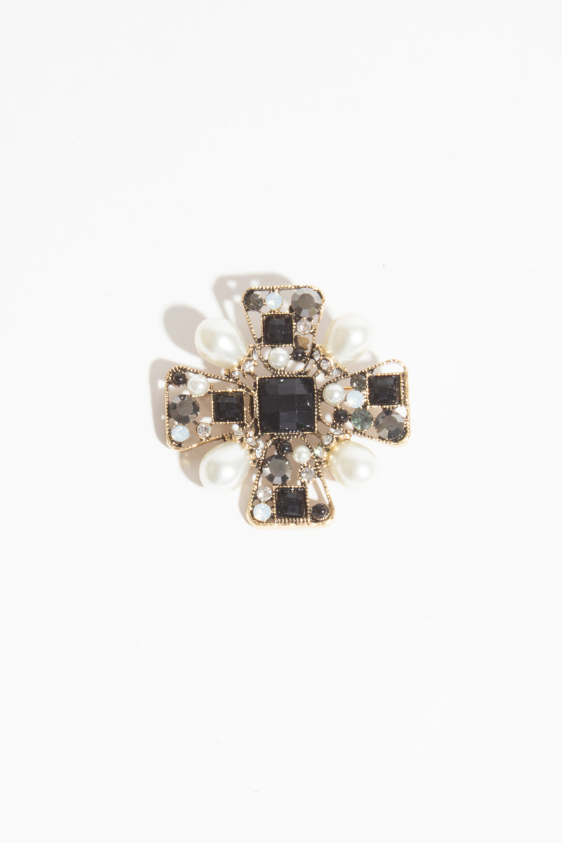 Pearl & Black Square Brooch, Brooches - Repertoire NZ, New Zealand Fashion, Womenswear, Womens Clothing