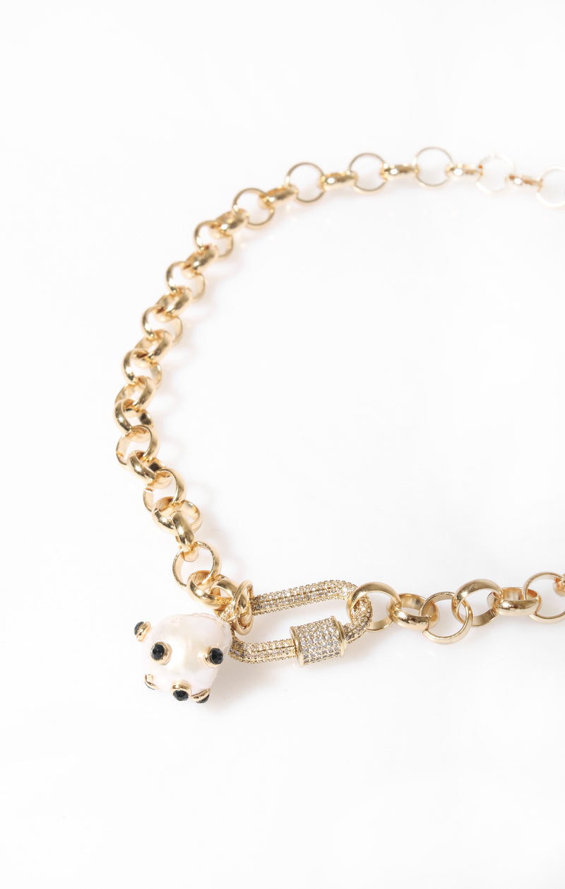 Carabiner/Pearl Necklace