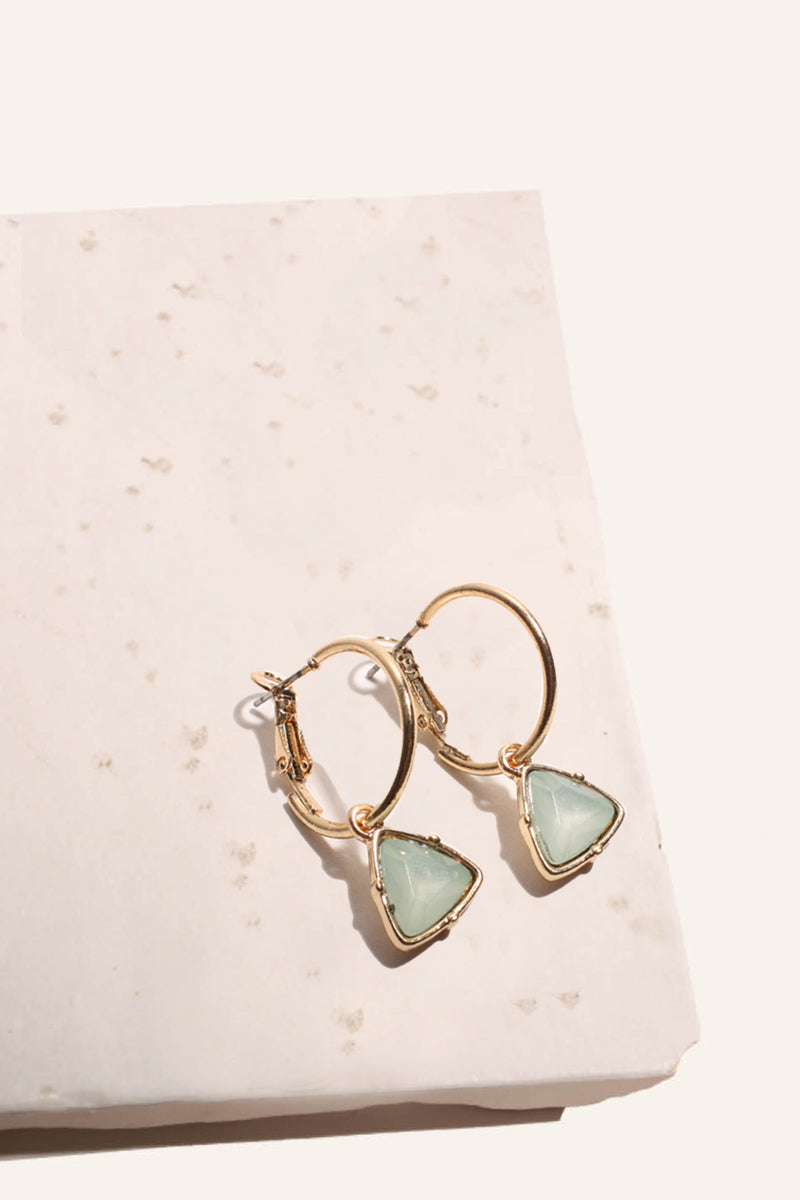 Triangle Gem Hoop Earrings
