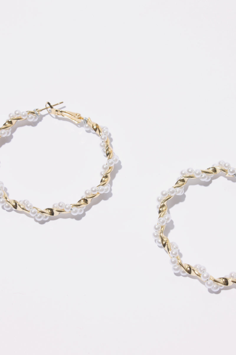 Twisted Pearl Hoop Earring, Accessories - Repertoire NZ, New Zealand Fashion, Womenswear, Womens Clothing