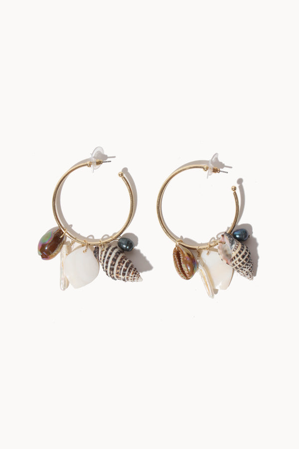 Shell Drop Hoop Earring