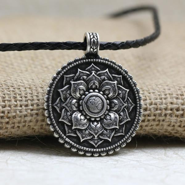 Sacred Lotus Mandala Pendant - Om̐ ॐ Sanskrit - Made from Antique Silver