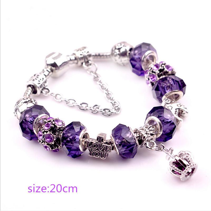 Purple Crown Crystal Bracelets for Women