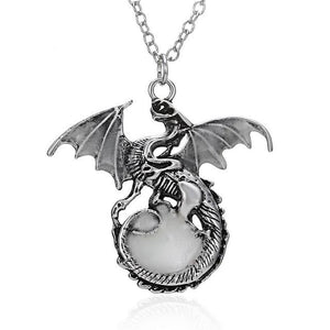 Retro Dragon Glow in the Dark necklace Pendant Silver Chain Jewelry Bright Dragon Pendants & Necklaces Mens Punk Dragon Necklace